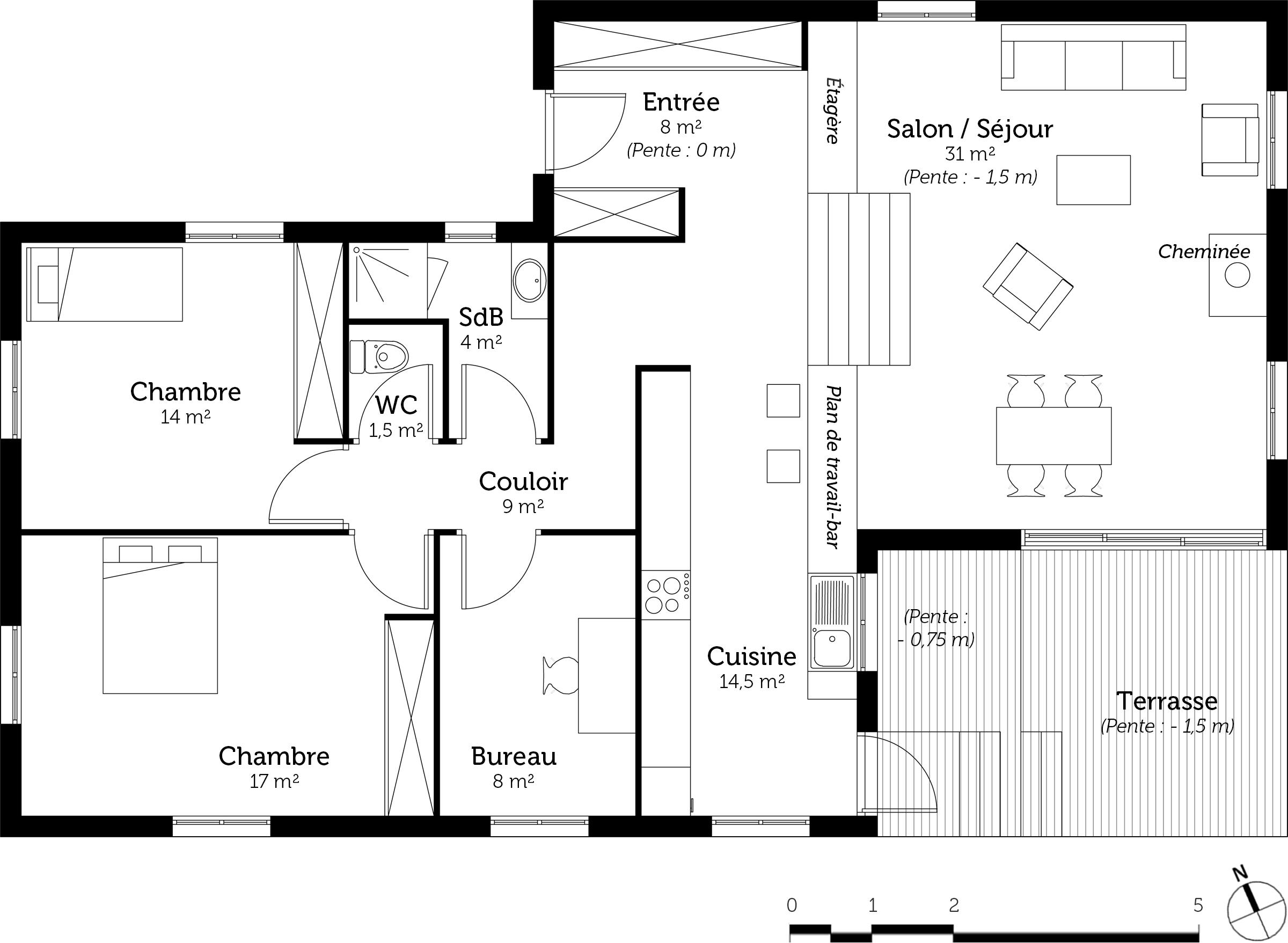 Plan maison demi niveau