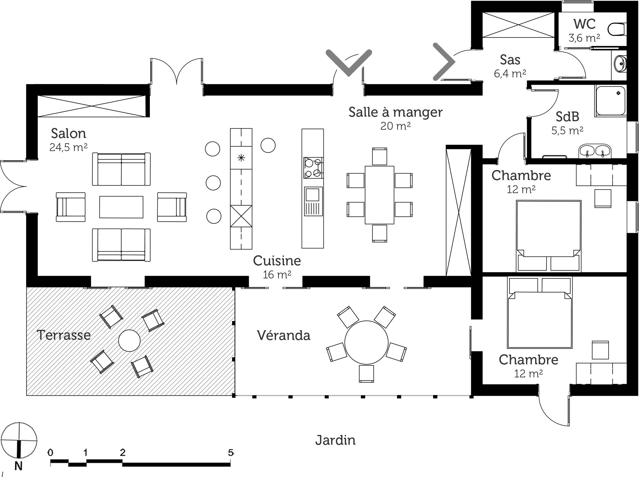 plan maison design avec v randa ooreka. Black Bedroom Furniture Sets. Home Design Ideas