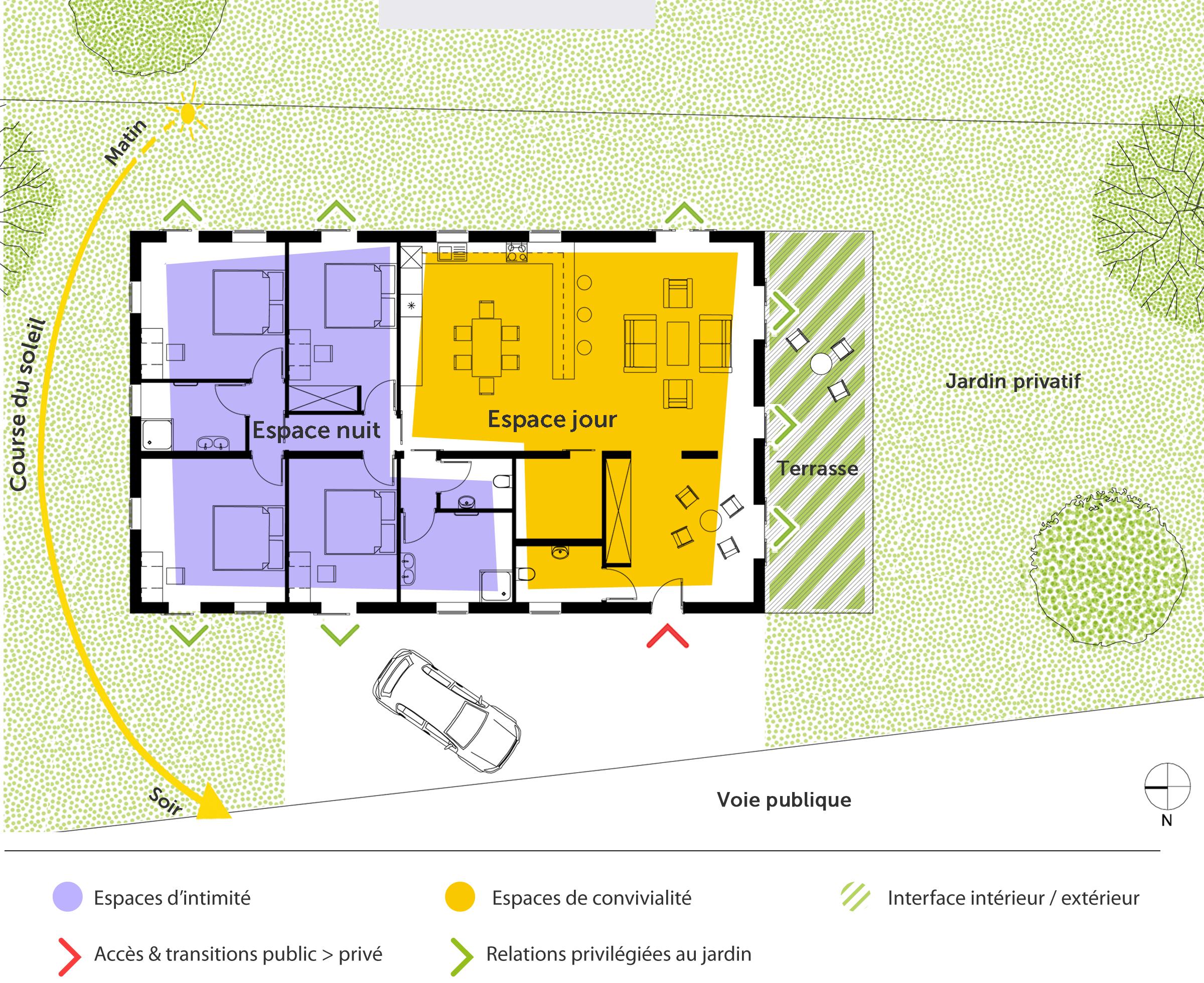 Plan maison de plain pied 160 m avec 4 chambres ooreka - Plan maison plain pied 1 chambre ...