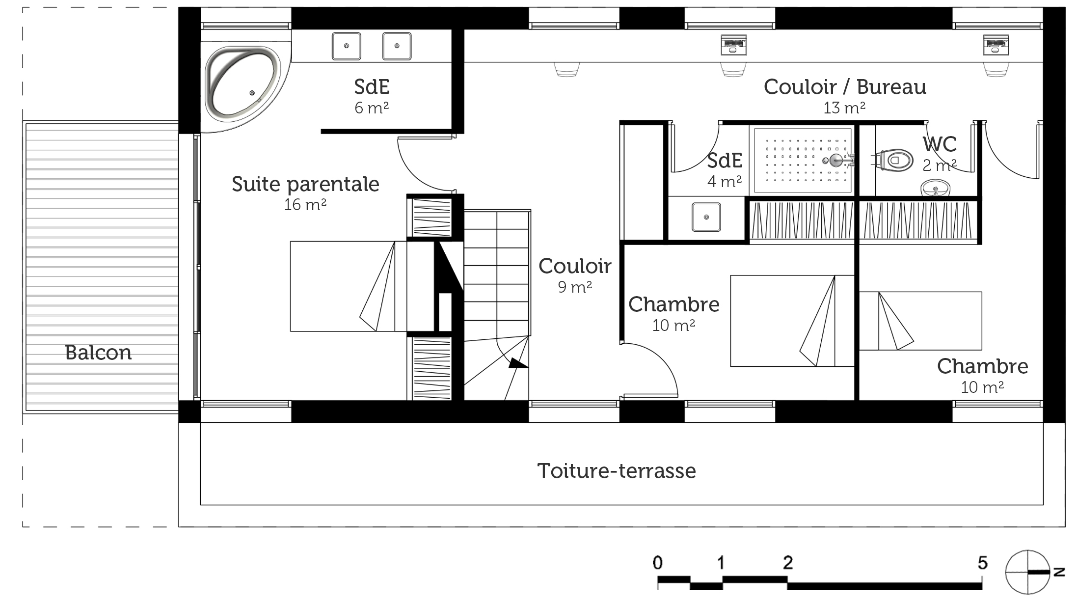 Plan maison tage avec balcon ooreka - Plan maison 2 niveaux ...