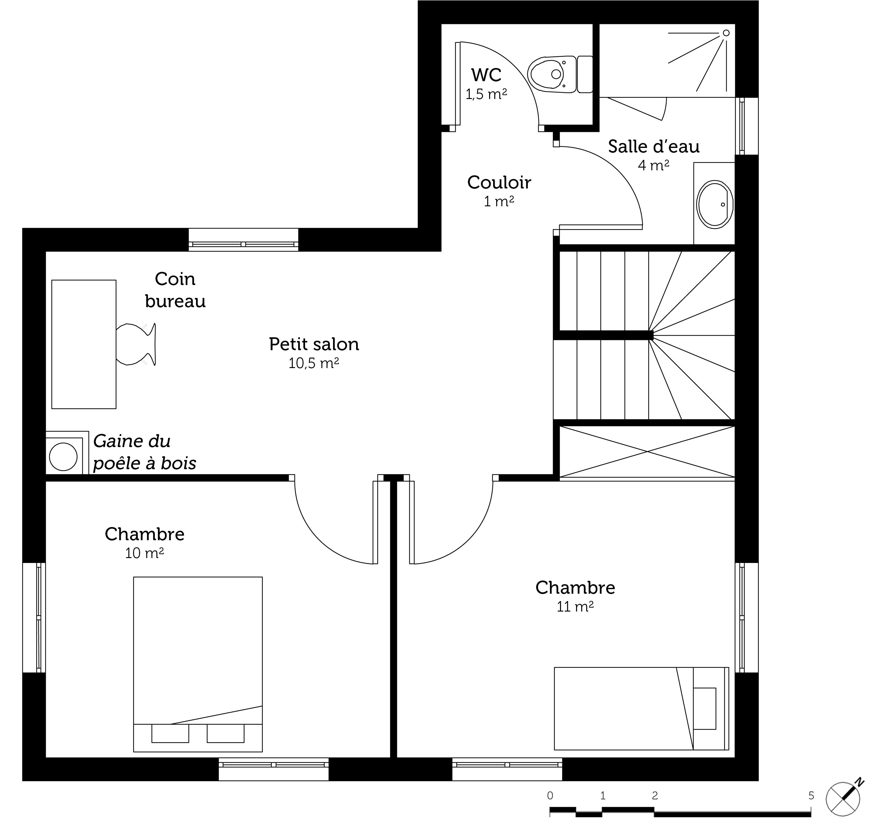 Plan maison 110 m avec v randa ooreka for Plan maison cuisine fermee
