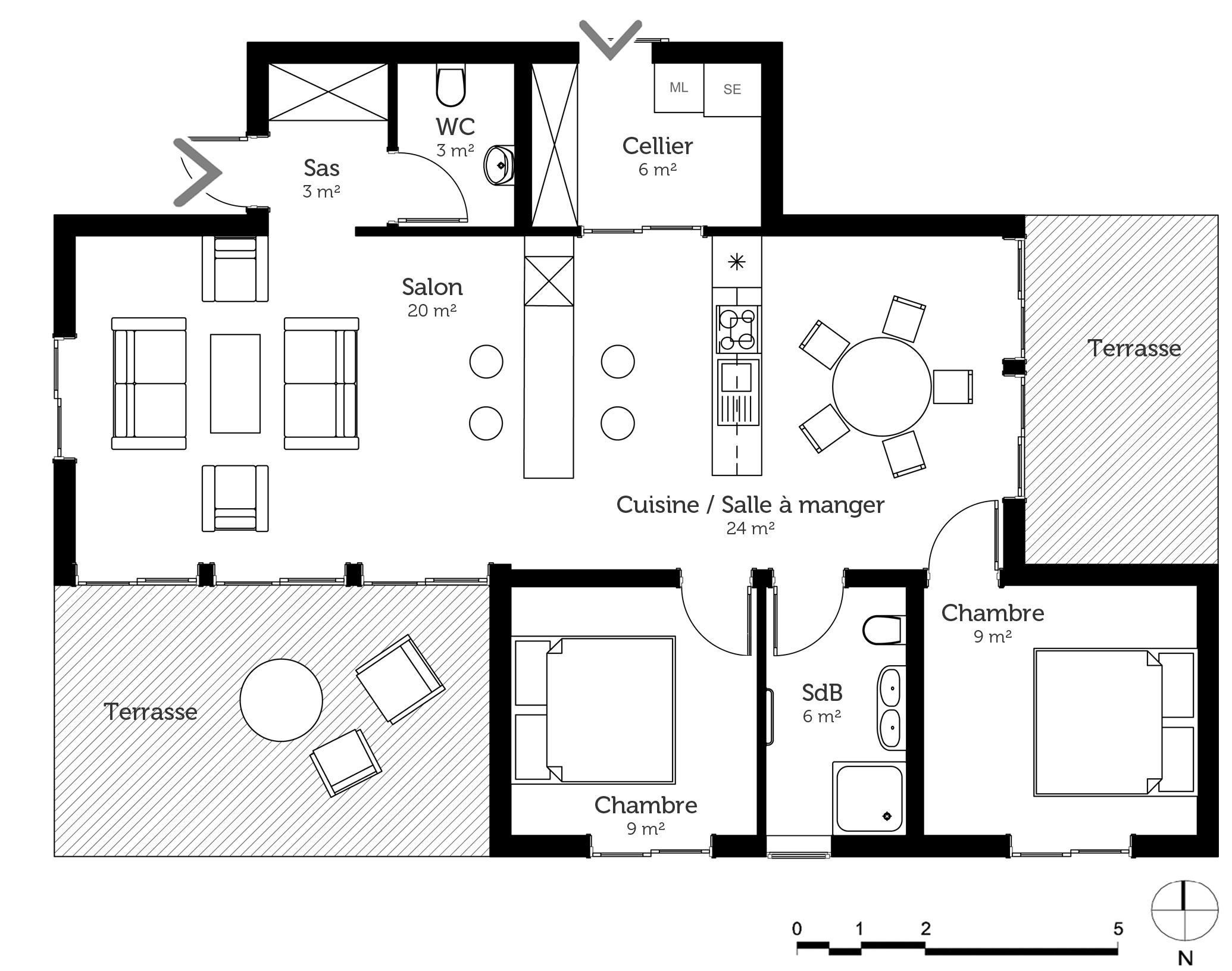 Plan maison 80 m contemporaine ooreka for Plan maison mitoyenne contemporaine