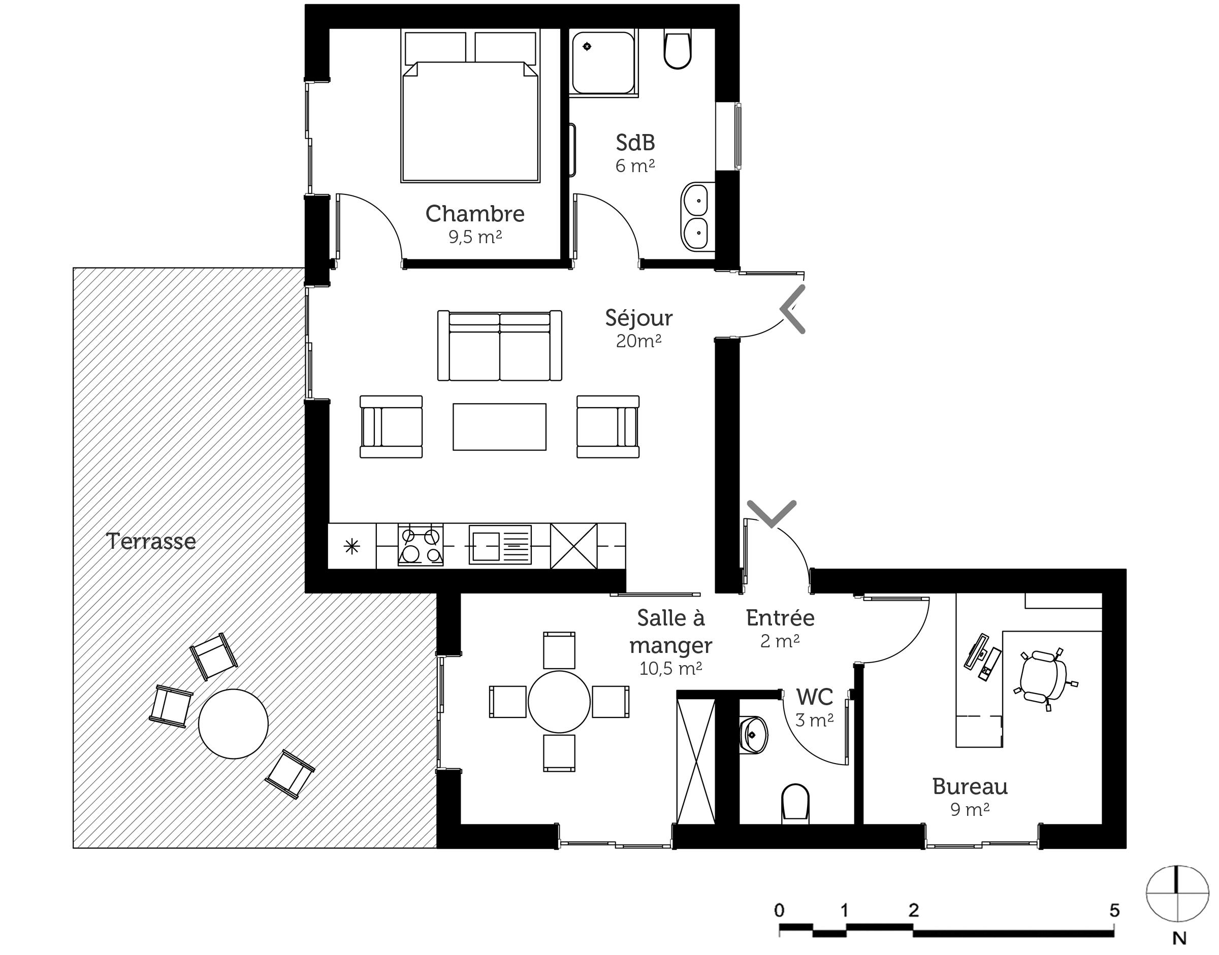 #666666 Plan Maison Contemporaine 60 M² Ooreka 4971 plan piece a vivre 30m2 2400x1881 px @ aertt.com