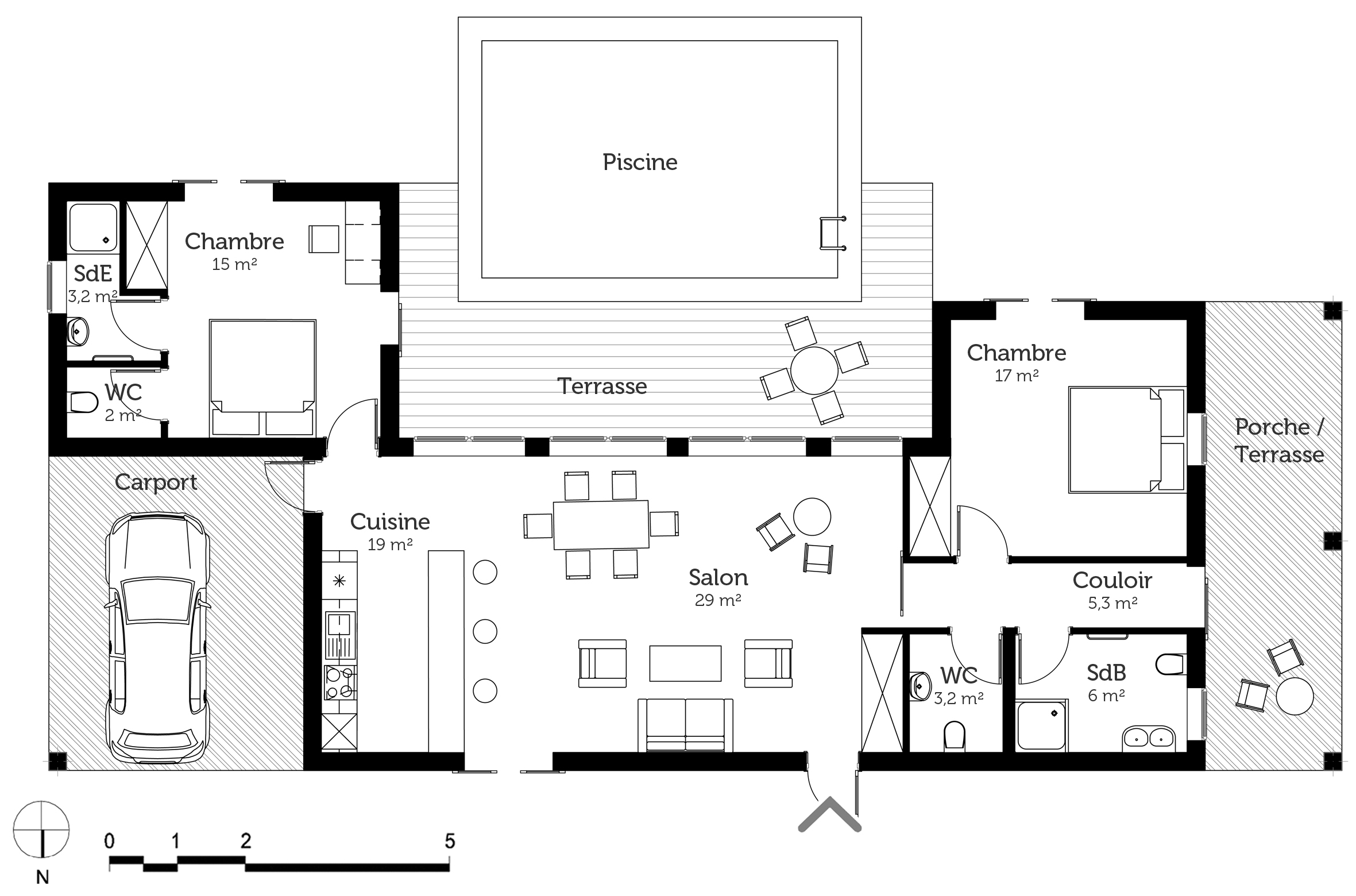 Plan maison en u de plain pied ooreka for Plan maison 3 faces