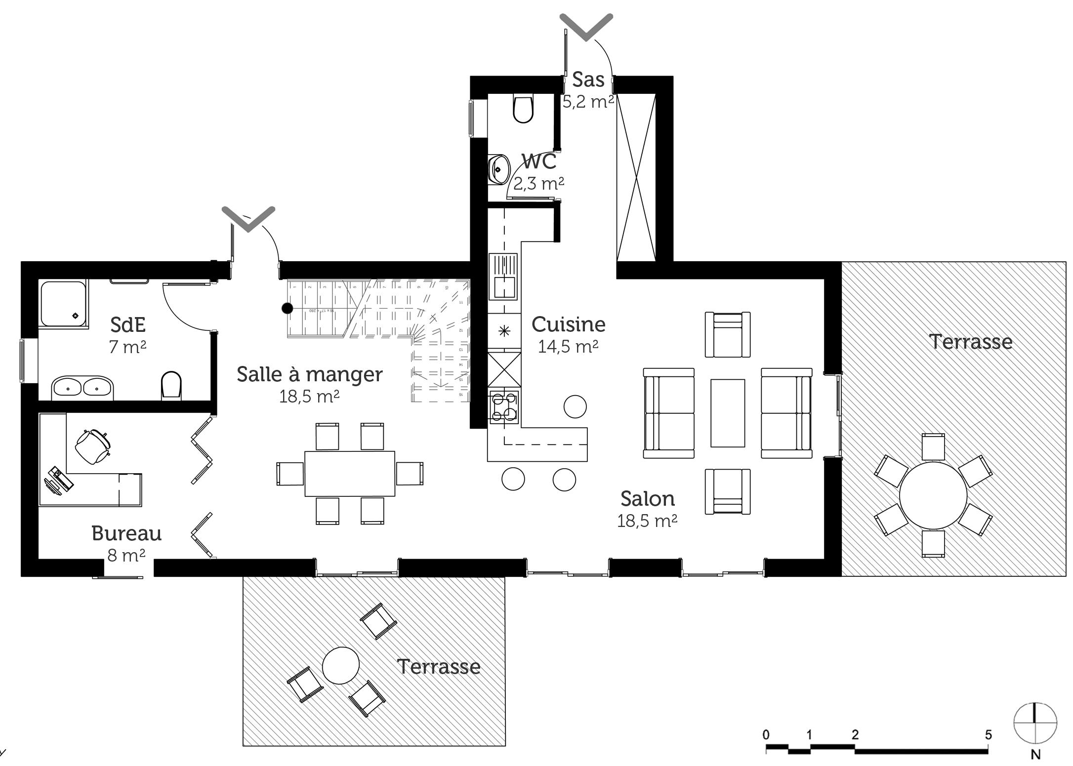 Plan maison 110 m avec 2 chambres ooreka for Plan de maison avec 2 chambres