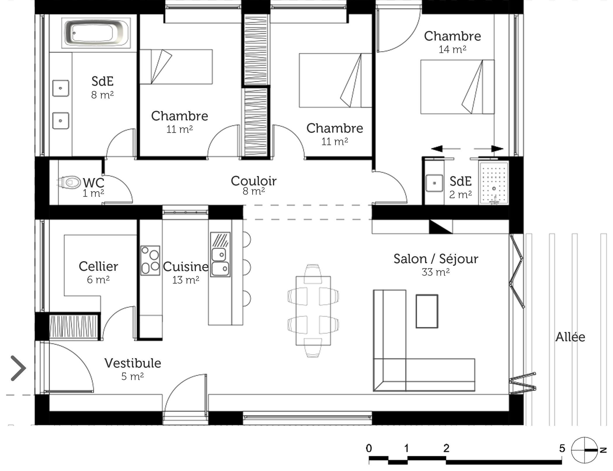 Plan maison toit plat 110 m ooreka for Maison californienne plan