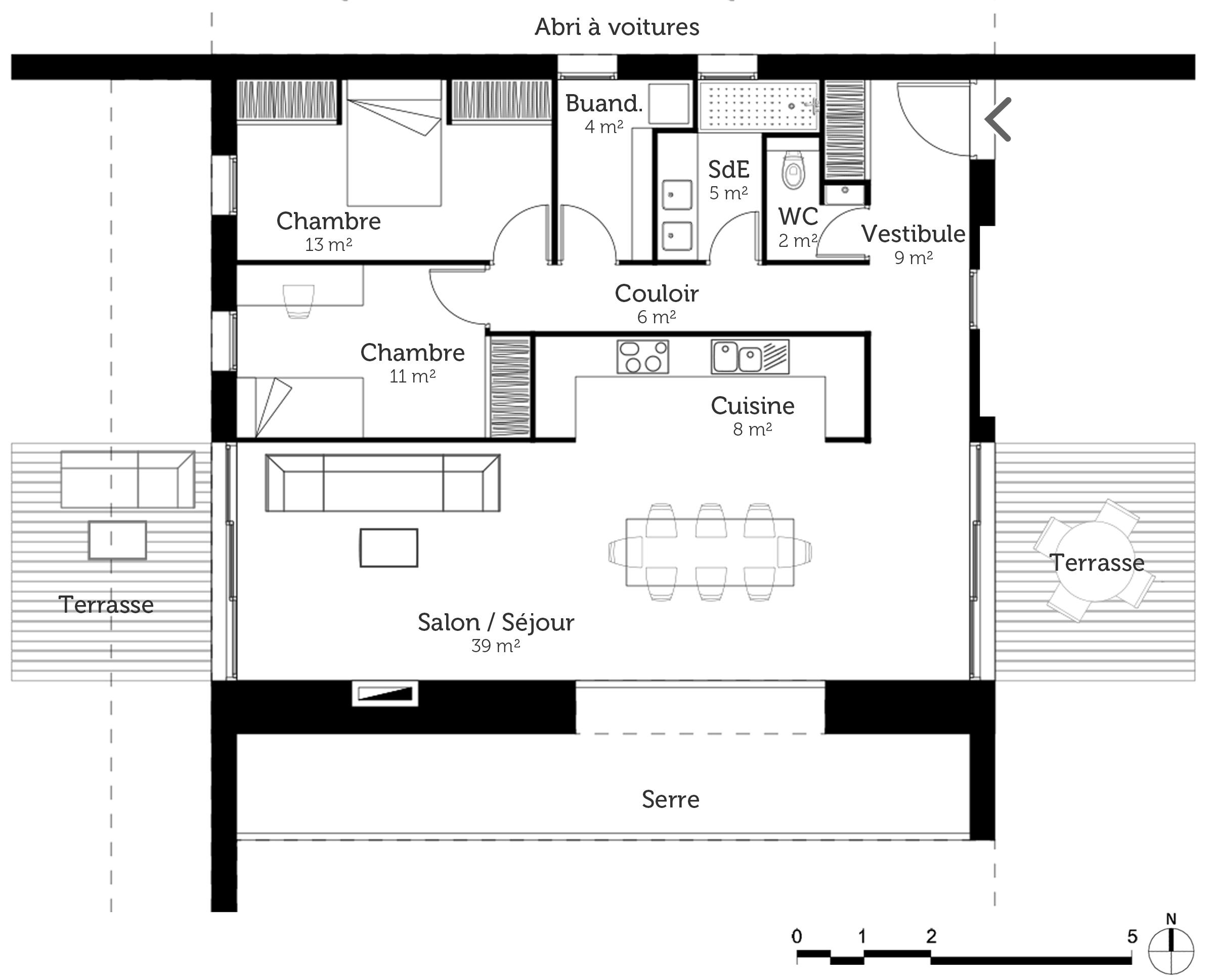 plan maison bioclimatique. Black Bedroom Furniture Sets. Home Design Ideas