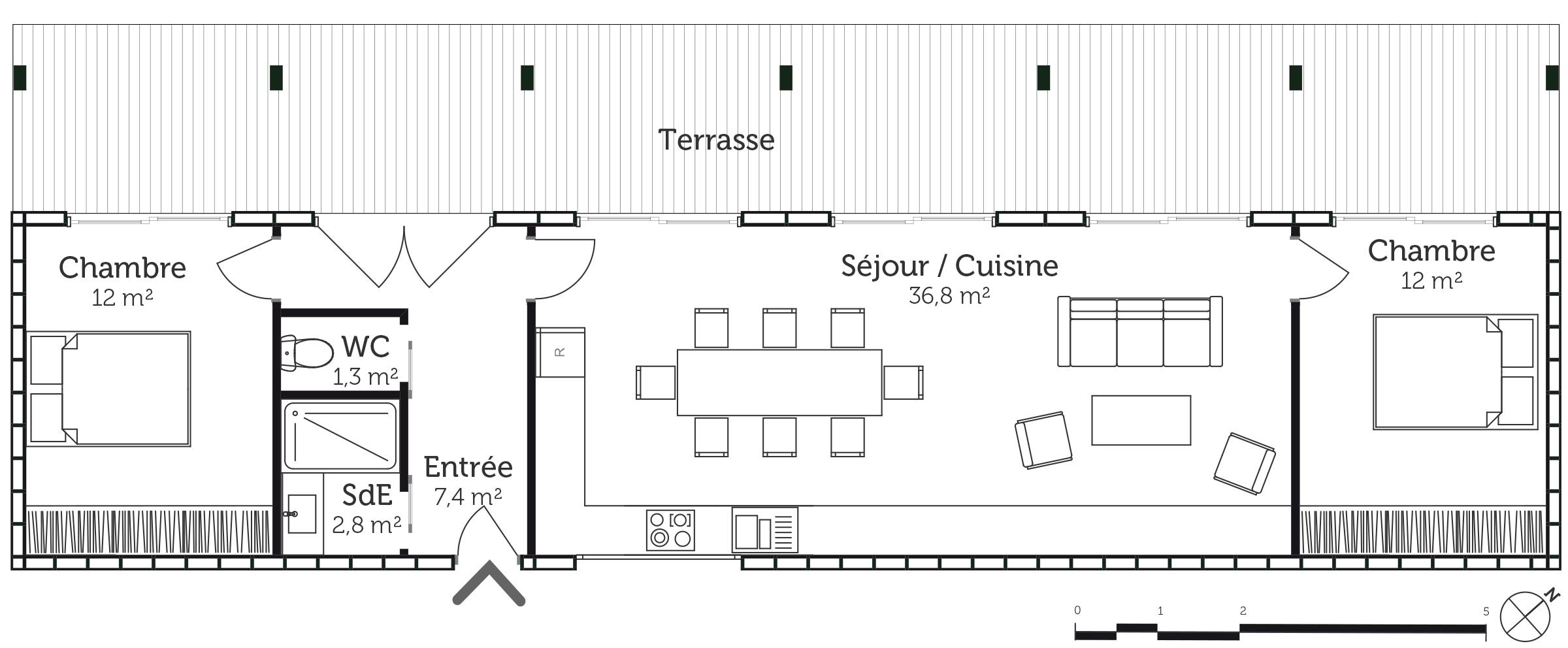 Plan maison contemporaine 70 m ooreka for Plan maison moderne en u