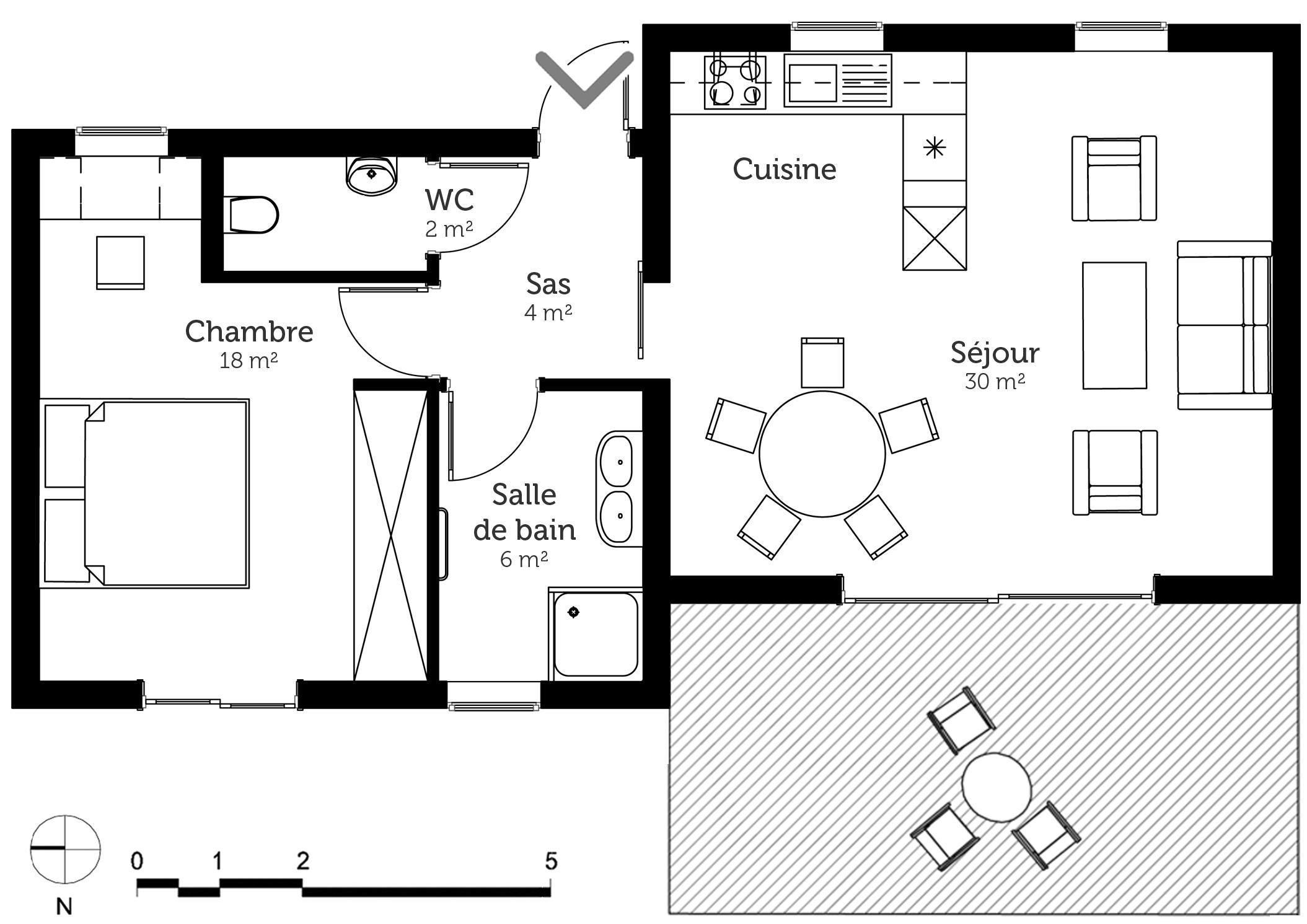 plan maison 60 m avec 1 chambre ooreka. Black Bedroom Furniture Sets. Home Design Ideas