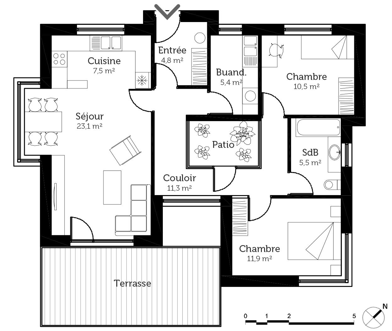 Plan maison toit plat avec patio ooreka for Plan de salon de maison