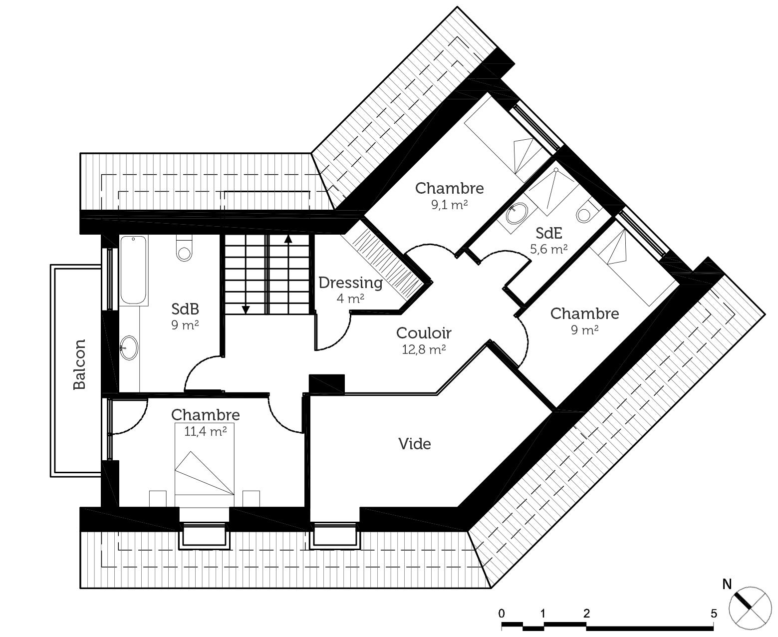 plan maison en v 140 m ooreka. Black Bedroom Furniture Sets. Home Design Ideas