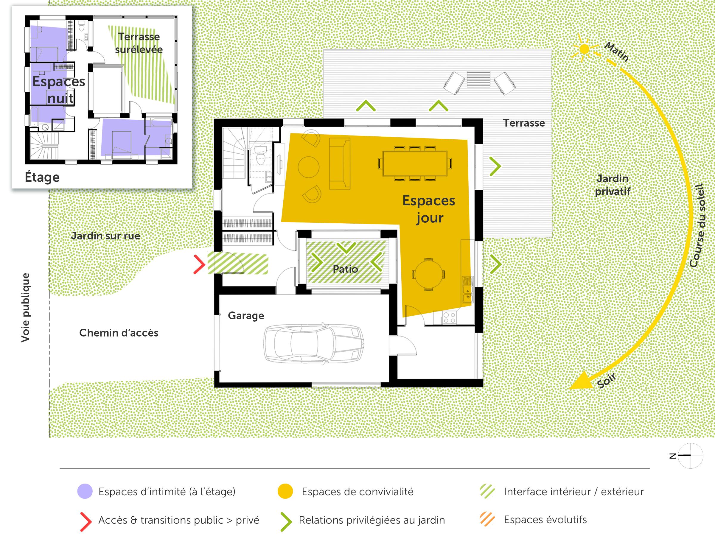 Plan maison carr e tage ooreka - Plan maison avec tour carree ...