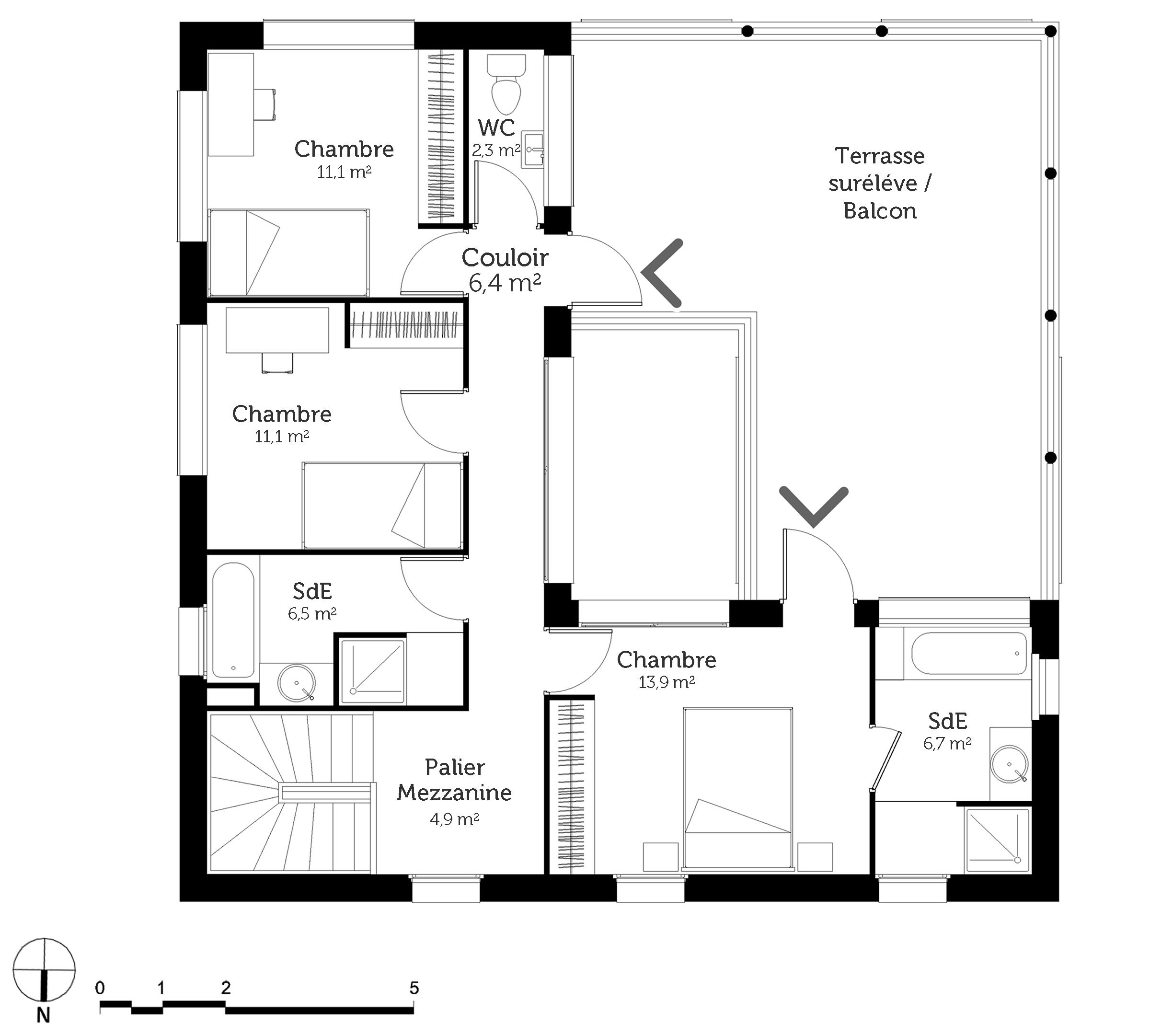 Plan maison carree 4 chambres - Plan maison avec tour carree ...