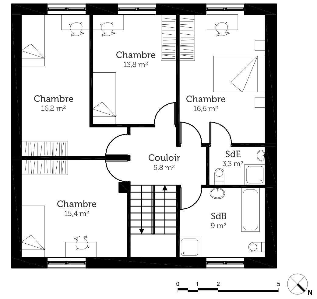 Plan maison cubique 140 m ooreka for Maison cubique plan