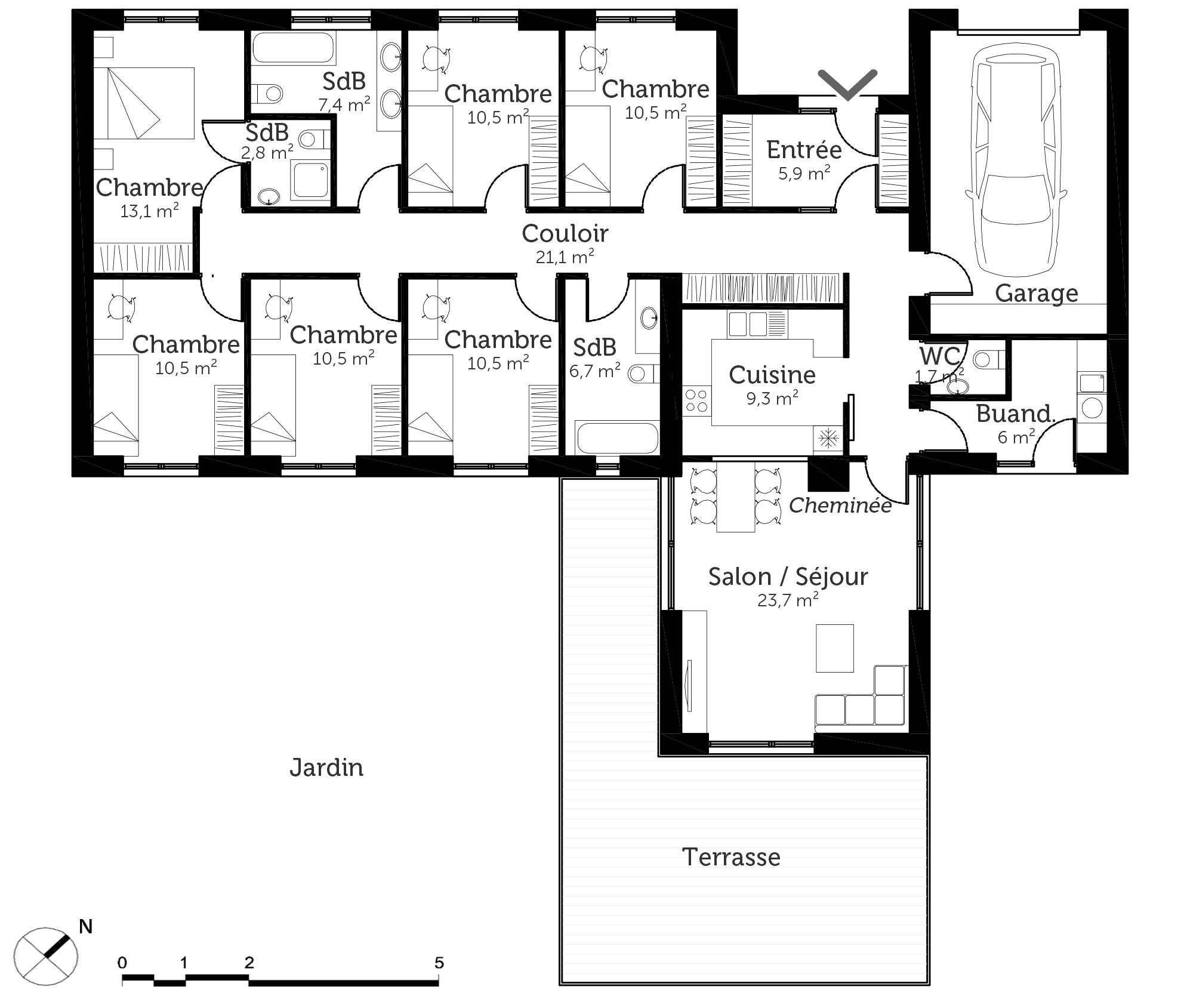 Plan maison en u 6 chambres for Plan maison contemporaine en u
