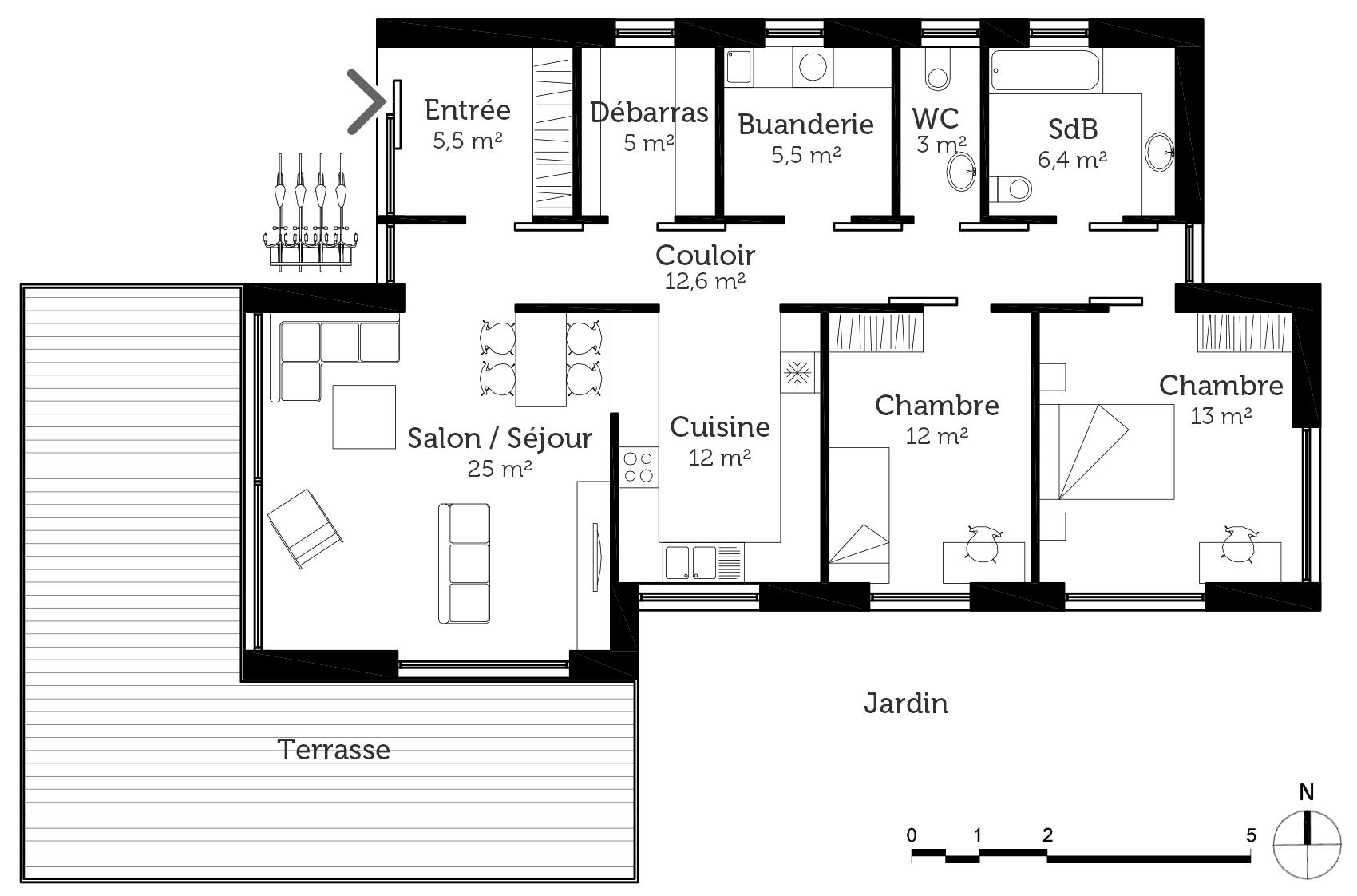 plan maison plain pied passive