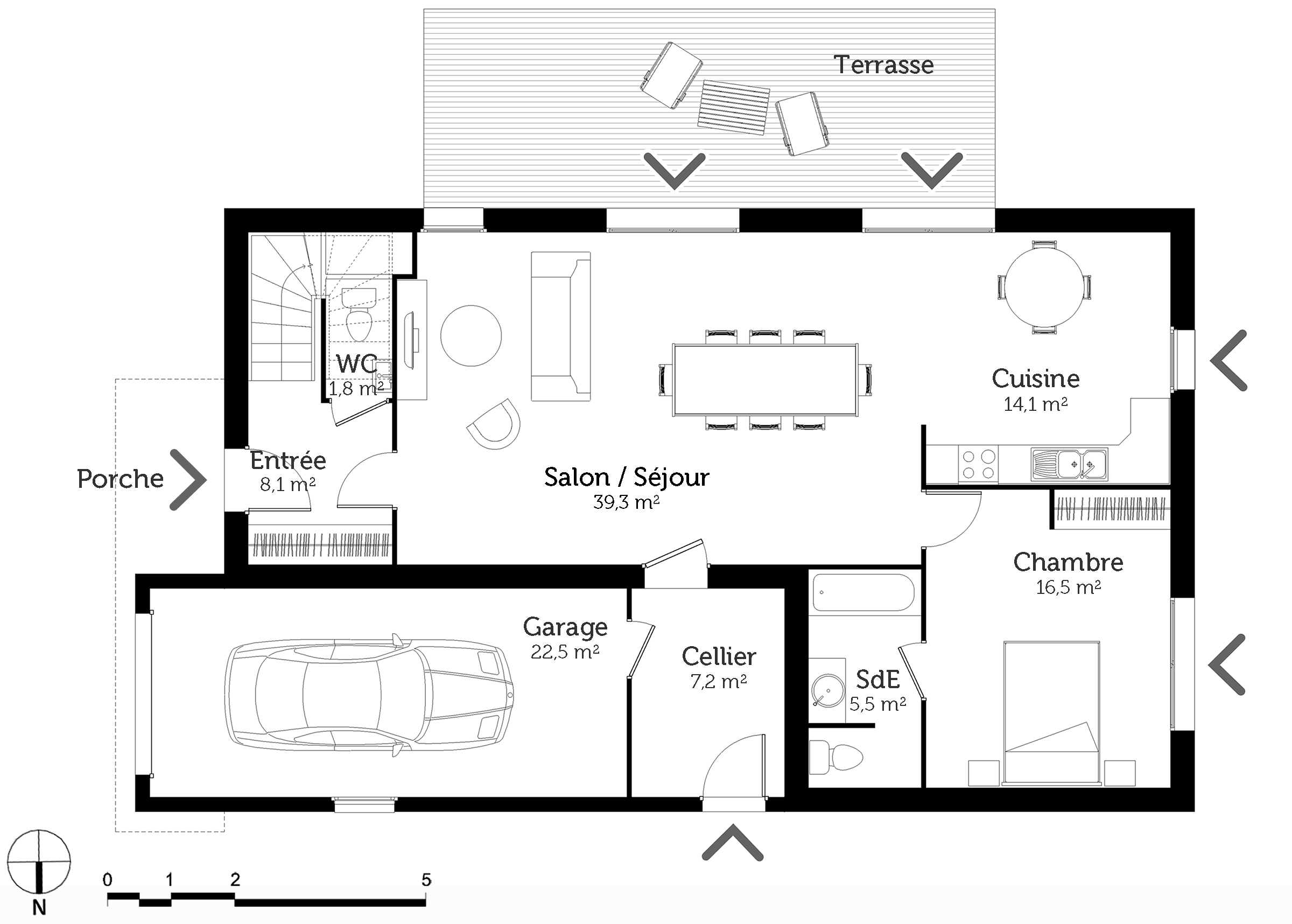 Plan maison tage 6 chambres ooreka for Plan maison 7 chambres