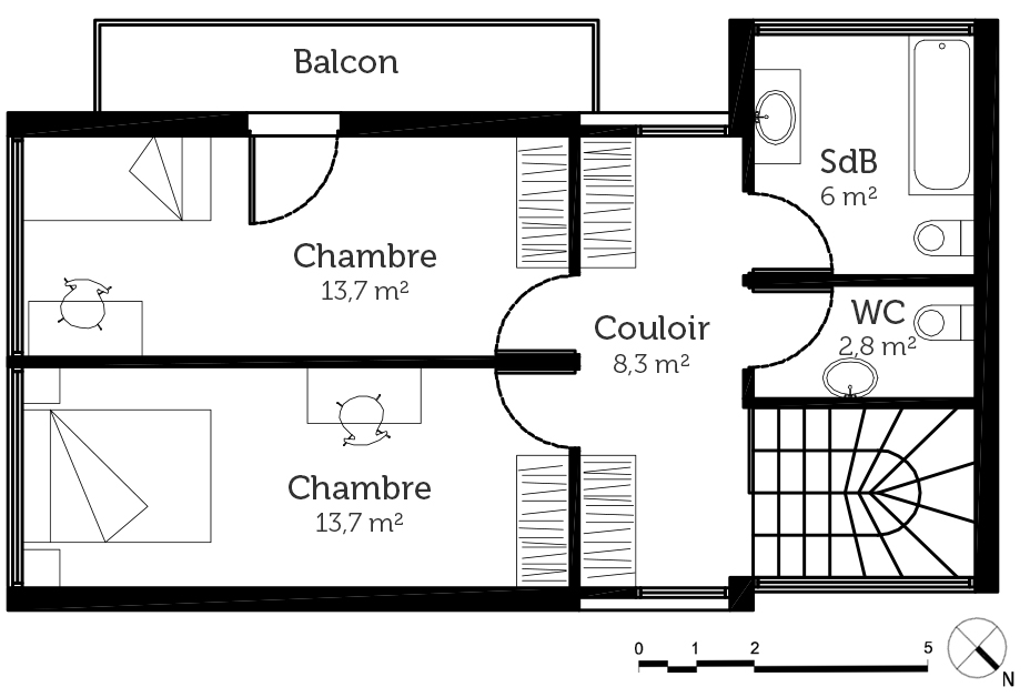Plan maison container 90 m ooreka for Conteneur appartement