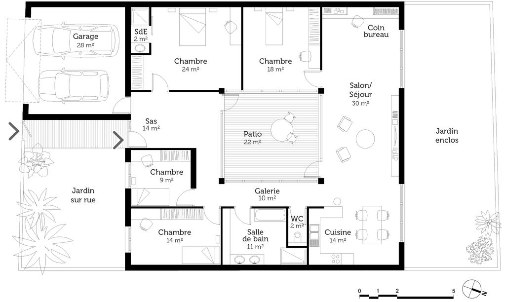 plan maison plain pied 4 chambres ooreka. Black Bedroom Furniture Sets. Home Design Ideas