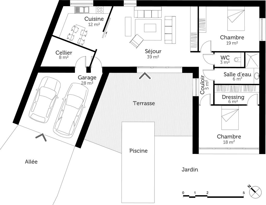 plan de maison contemporaine en u
