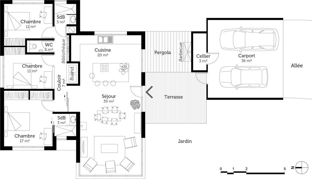 Plan maison moderne de plain pied 3 chambres ooreka for Construction maison 60m2