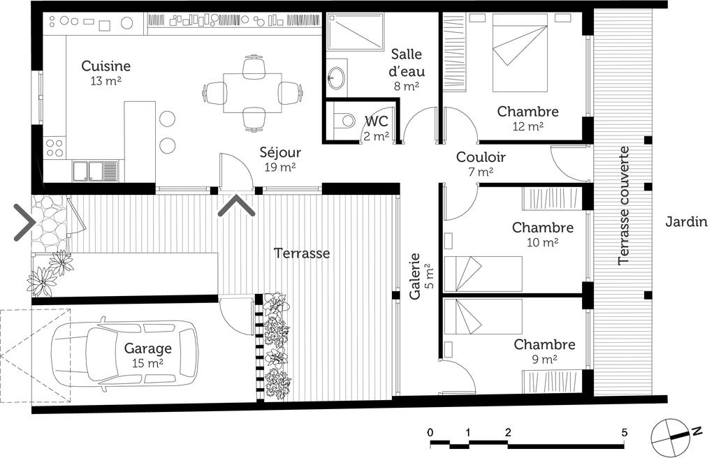 plan de maison avec un mur mitoyen