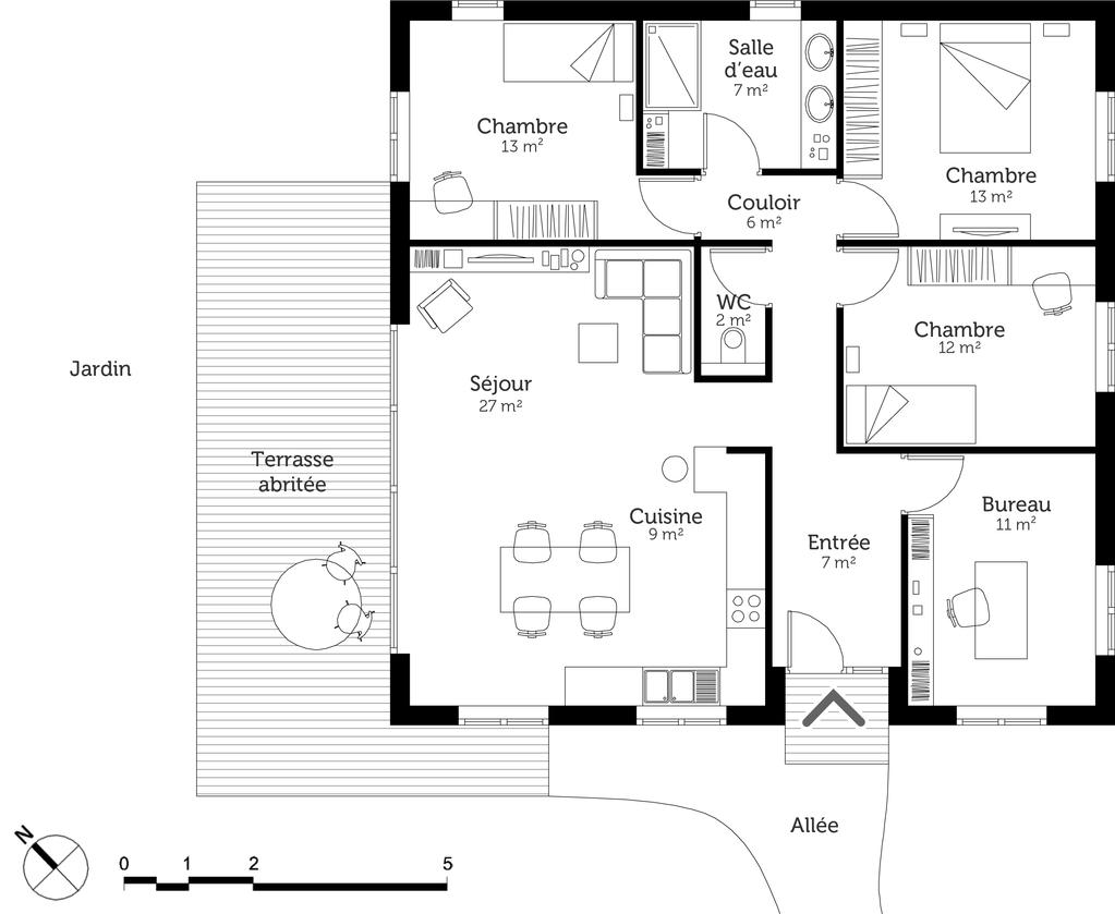 Plan maison moderne avec 3 chambres ooreka for Maison moderne plan