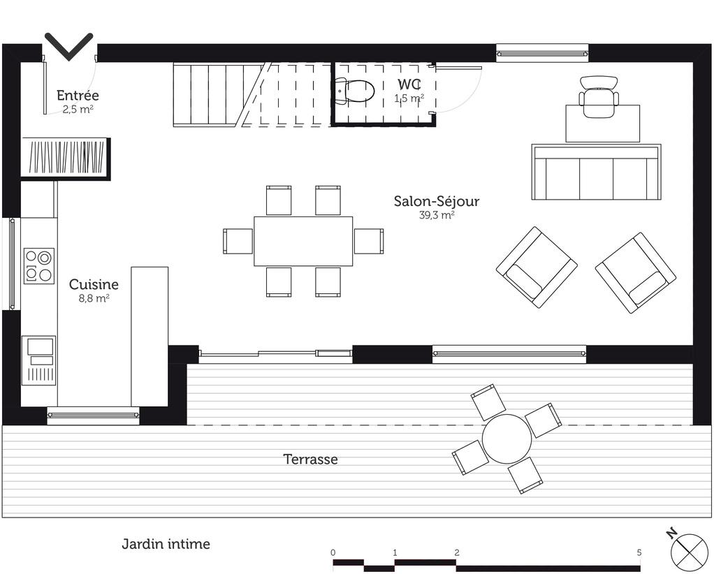 Plan maison tage 110 m avec 3 chambres ooreka for Plan maison cuisine ouverte