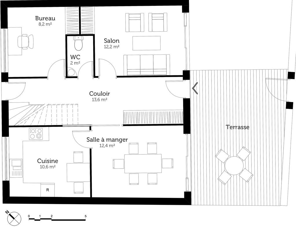 Plan maison 3 chambres et terrasse ooreka for Plan maison terrasse