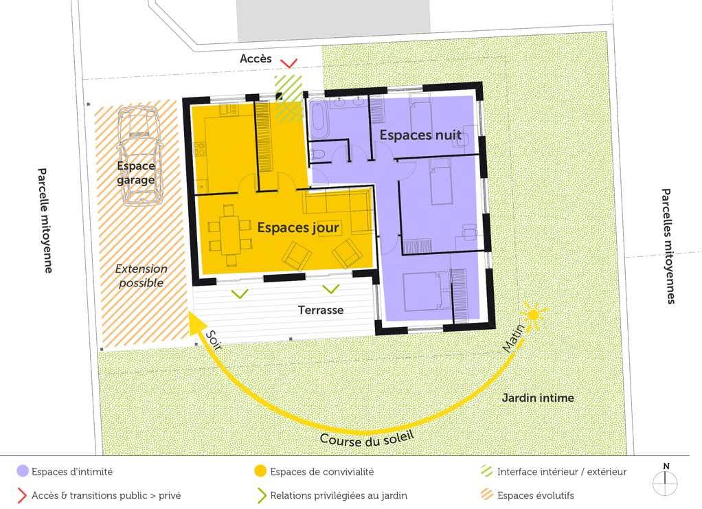 Plan maison plain pied avec 3 chambres ooreka for Plan de maison plain pied 3 chambres avec garage