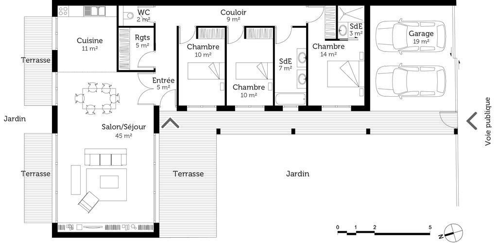 Plan maison de plain pied de 120 m ooreka for Exposition d une maison