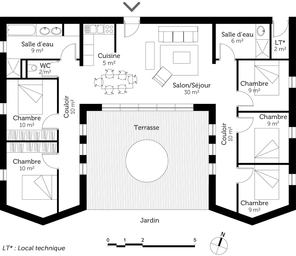 Plan maison plain pied avec 5 chambres ooreka for Plans de maison services d architecture