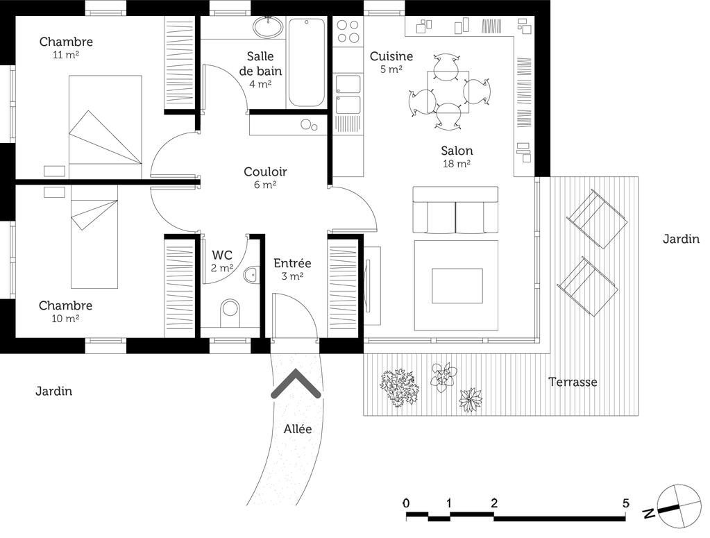 Plan maison plain pied 60 m ooreka for Plan maison 3 faces