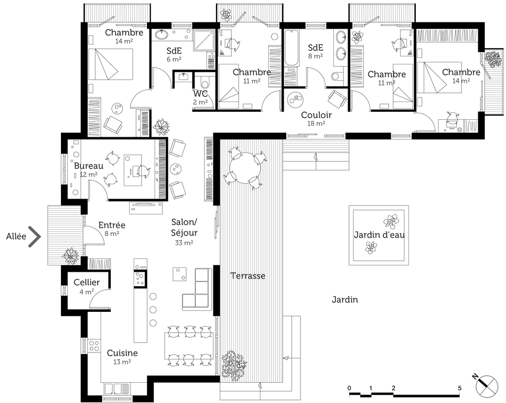 Plan maison contemporaine toit plat ooreka for Plan maison en l 3 chambres garage