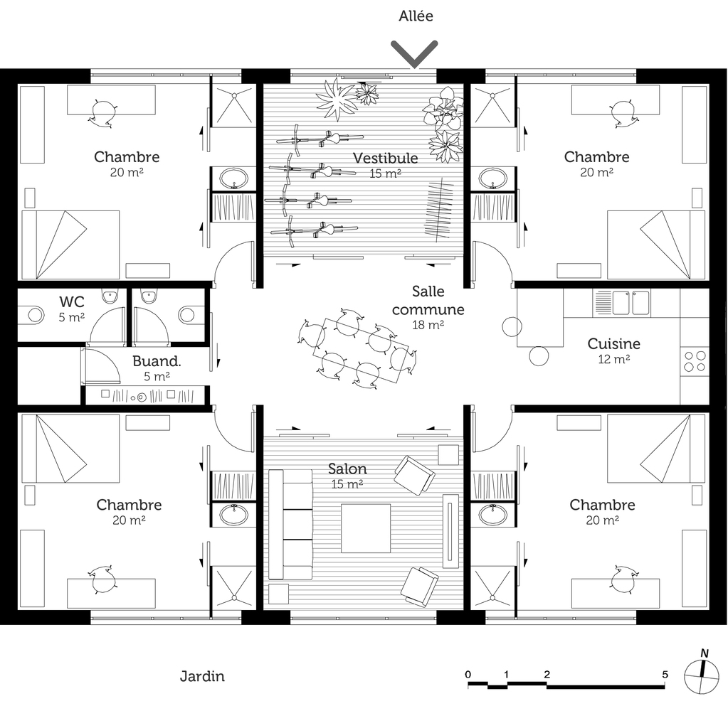 Plan maison cubique 150 m ooreka for Plan maison cubique plain pied