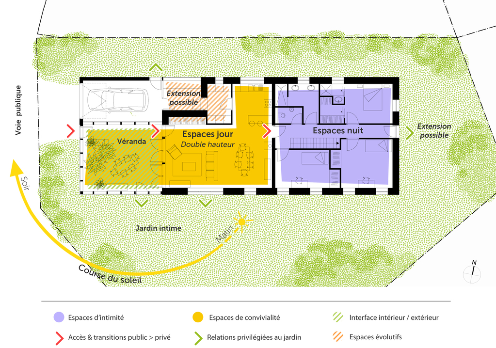 Plan maison contemporaine en bois ooreka for Agrandissement maison 80m2