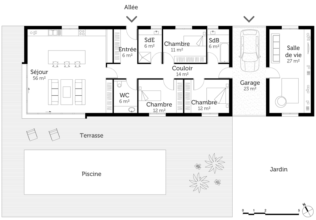 Plan Maison Plain Pied Avec Piscine Ooreka