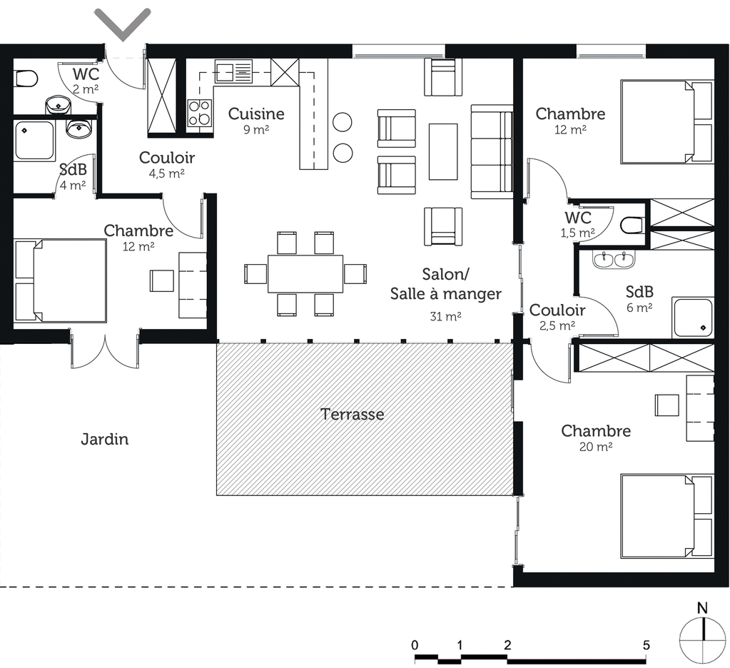 Plan maison de plain pied 100 m avec 3 chambres ooreka for Plans de maison services d architecture