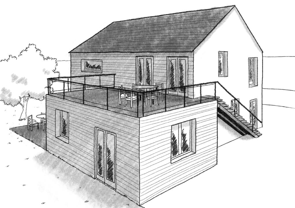 Plan maison tage en l avec terrasse ooreka for Jardin a l americaine