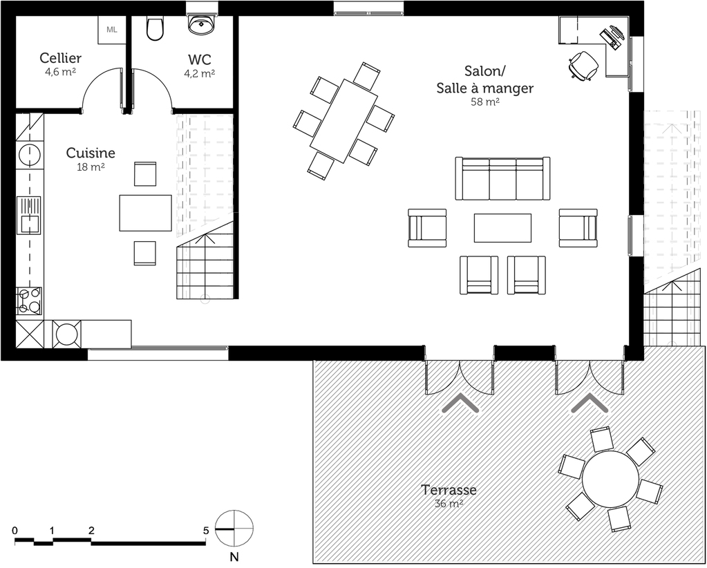 Plan maison tage en l avec terrasse ooreka for Plans de maison construits pour une vue