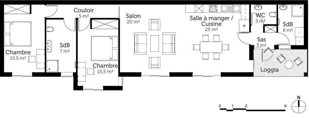 plan de maison rectangulaire moderne