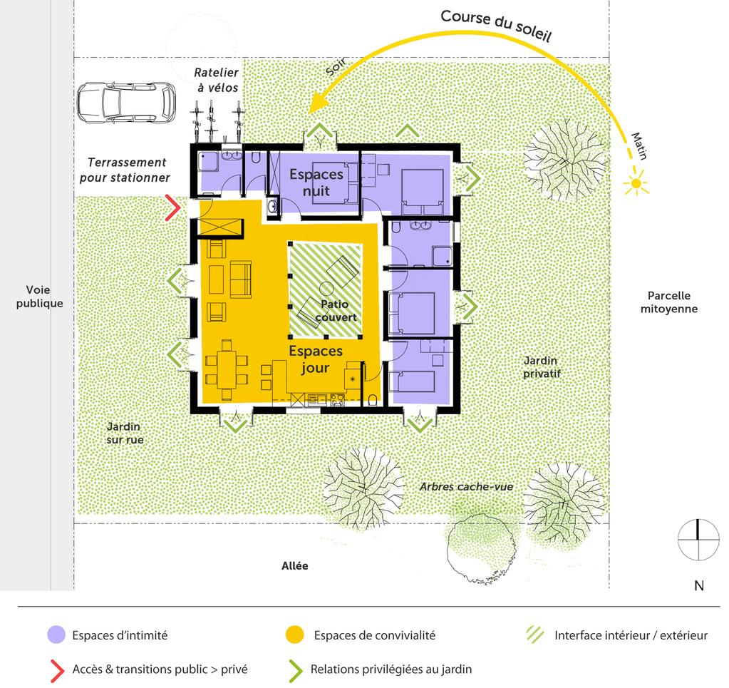 plan maison cubique 120 m avec 4 chambres ooreka. Black Bedroom Furniture Sets. Home Design Ideas