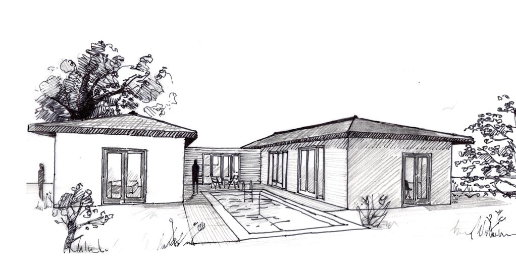 Esquisse 3D Plan de maison de plain-pied de 130 m²