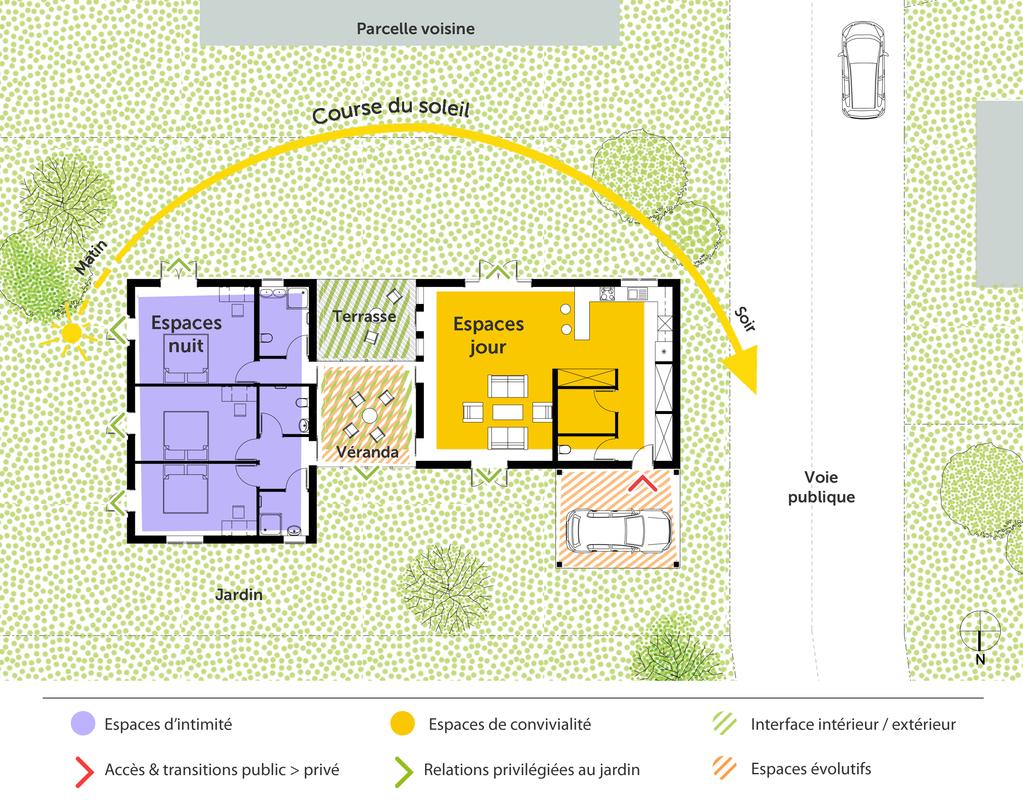 Plan maison de plain pied avec v randa ooreka for Plan maison 50m2