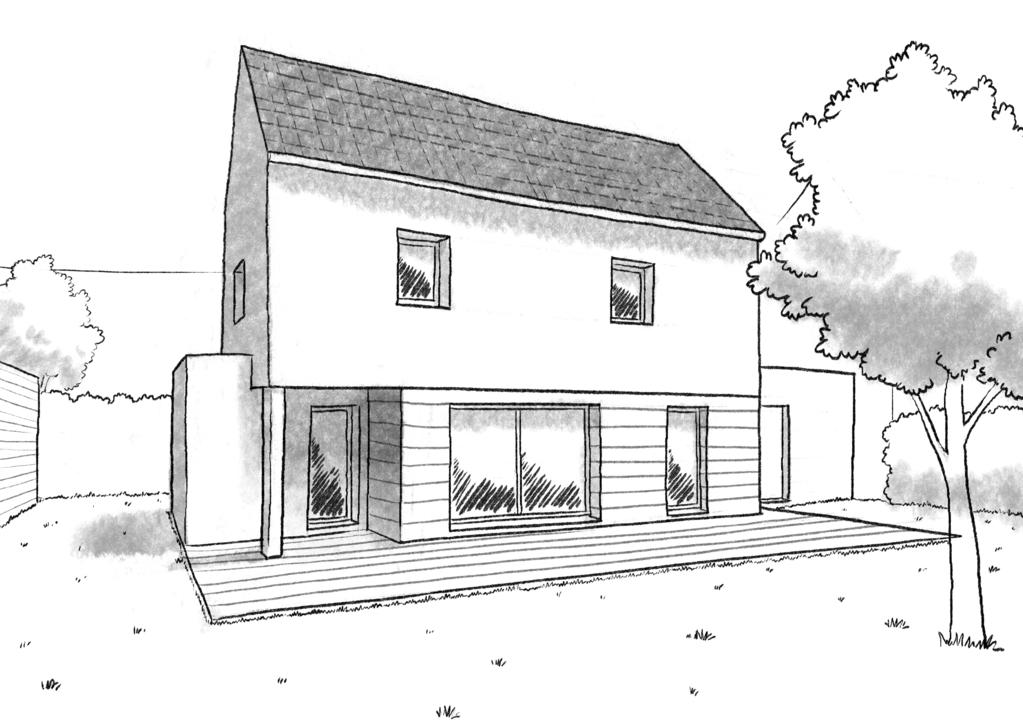 Esquisse 3D Plan de maison à étage de 90 m²