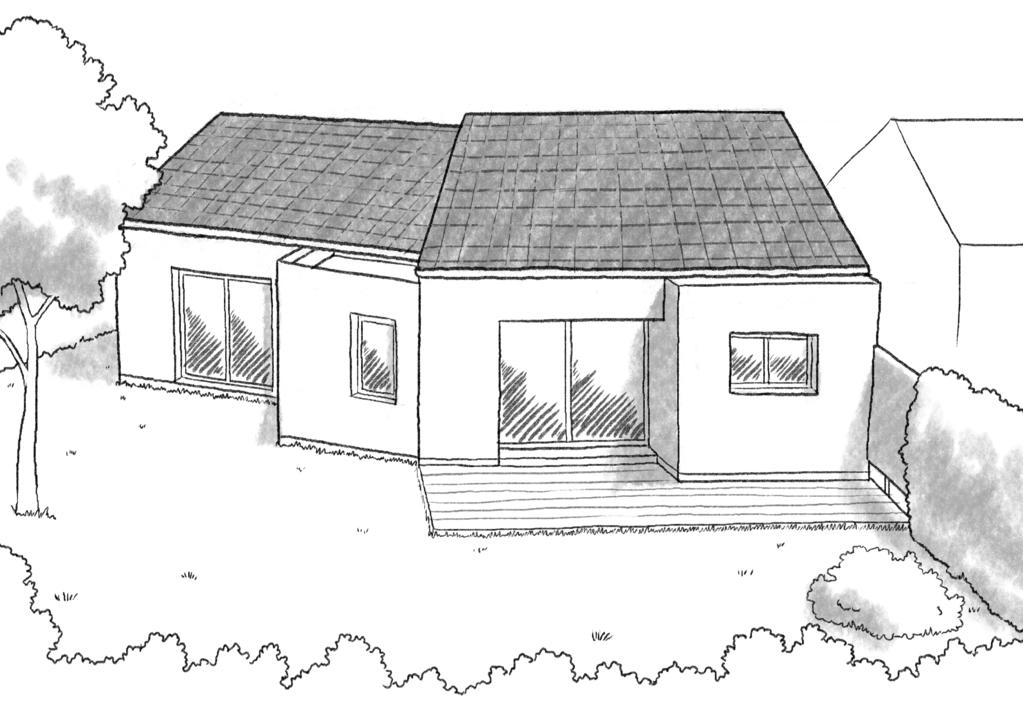 Esquisse 3D Plan de maison en V avec 2 chambres