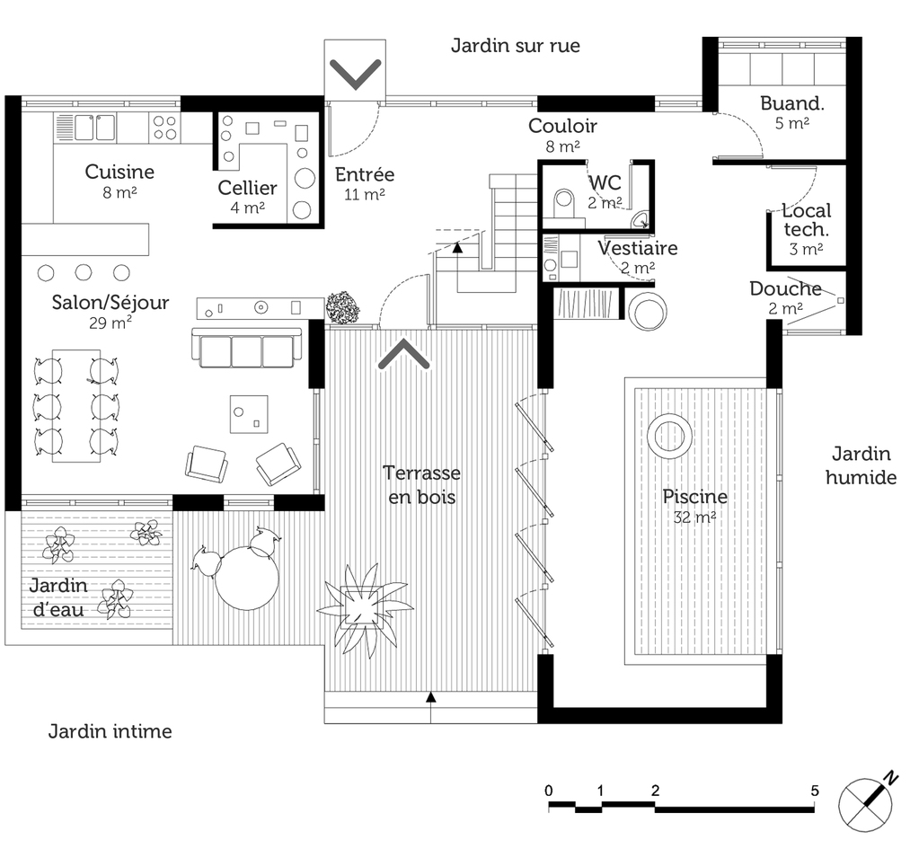 Plan maison en u avec piscine ooreka for Plan maison contemporaine en u