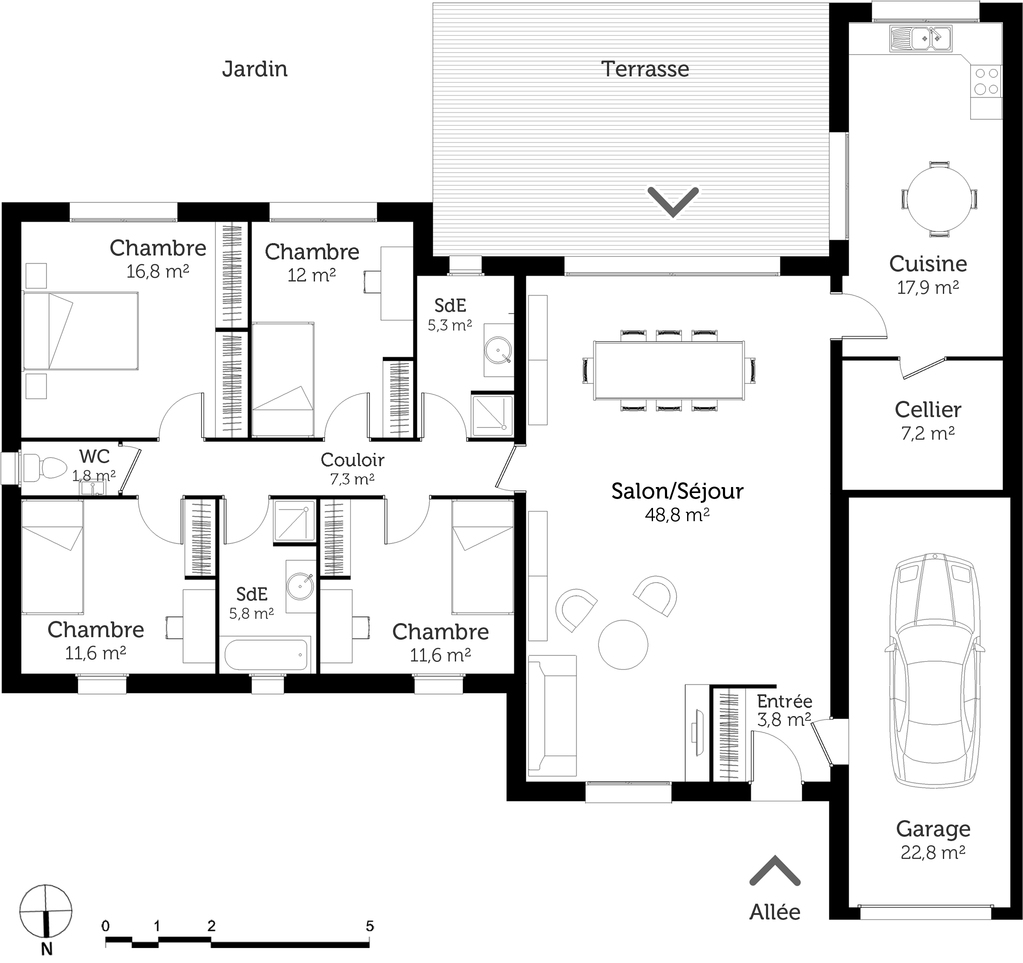 Plan maison de plain pied 150 m ooreka for Maison contemporaine plain pied plan