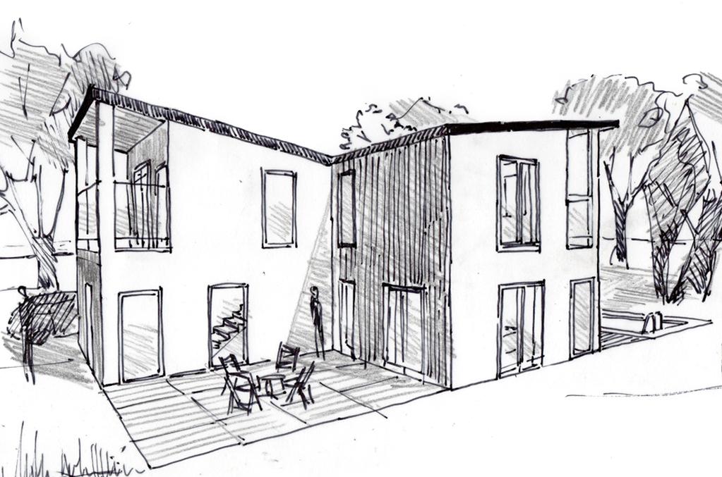 Plan maison moderne tage ooreka for Dessin de maison moderne