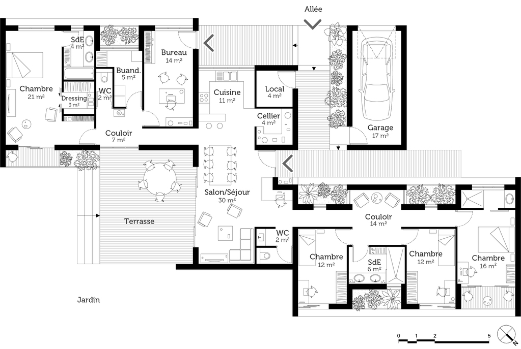 Plan maison de plain pied avec suite parentale ooreka for Plan maison architecte moderne